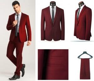 traje rojo vino
