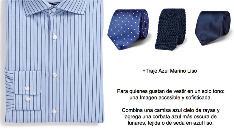 camisa azul y corbata