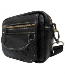 bolso bandolera horizontal mini piel negro