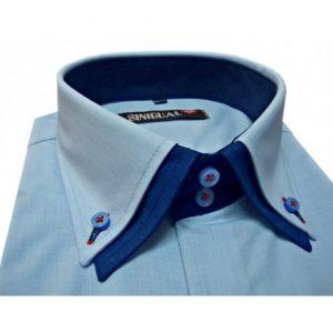 camisa para hombre azul celeste doble cuello