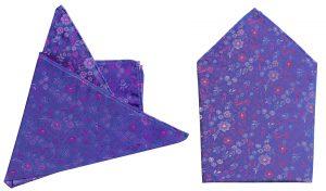 pañuelo seda azulon flores magenta