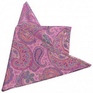 panuelo de bolsillo seda rosa motivos cachemir